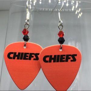 Kansas City Chiefs guitar pic earrings